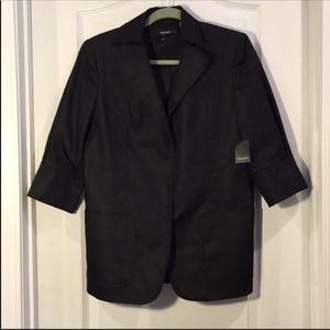 TAHARI 3/4 Sleeve Black Denim Blazer Size 8